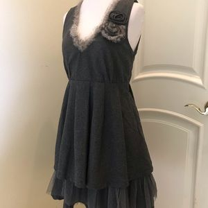 NWT Ryu gray dress with rabbit fur trim
